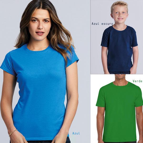 T-shirt algodão 150g ring-spun (Homem/Mulher/Criança) azul escuro azul verde