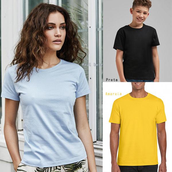 T-shirt algodão 180g ring-spun homem mulher criança