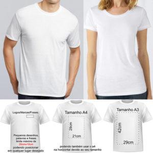 T-shirt 100% poliester sem/com personalização sublimática