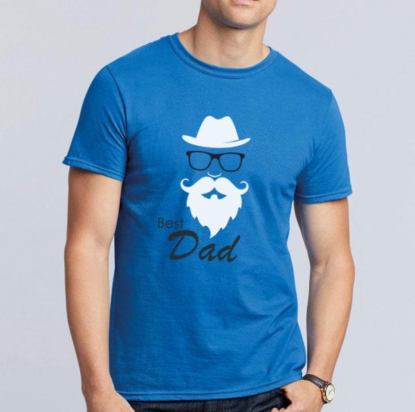 T-shirt Best Dad azul