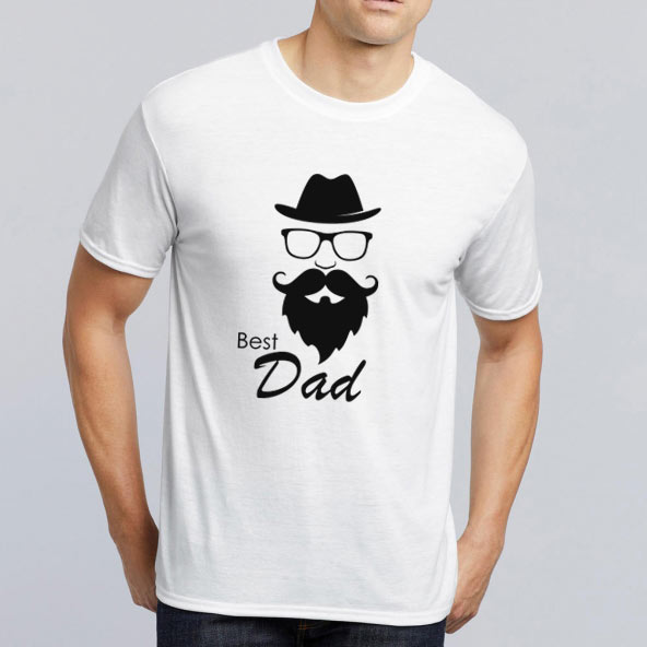 T-shirt Best Dad Branca