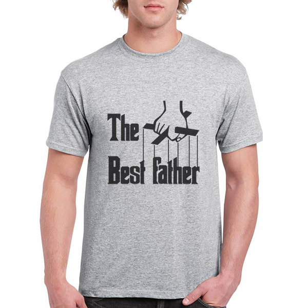T-shirt The Best Father cinza