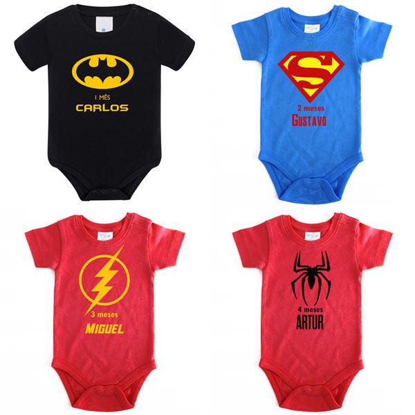 Body Bebé Super-Heróis Mesversário