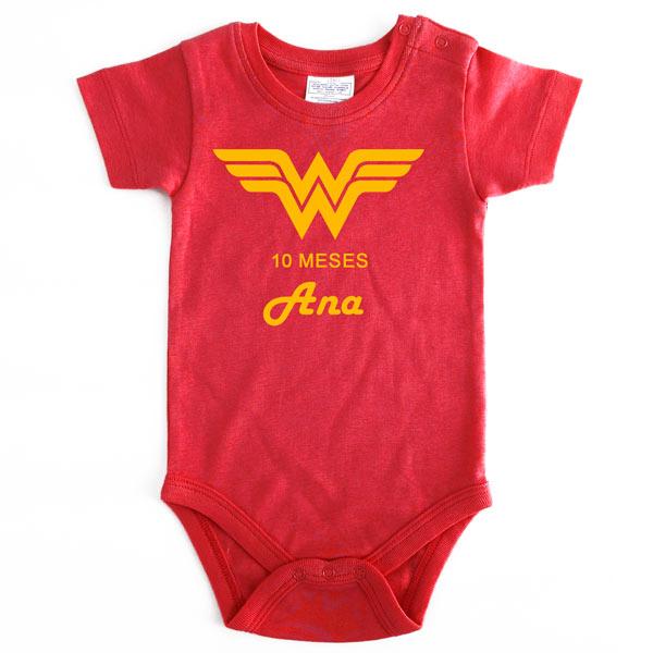 Body Bebé Super-Heróis Mesversário mulher maravilha