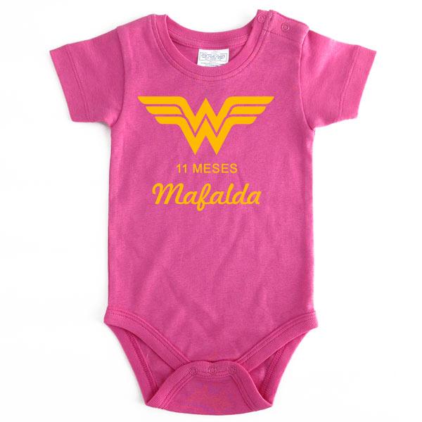 Body Bebé Super-Heróis Mesversário rosa