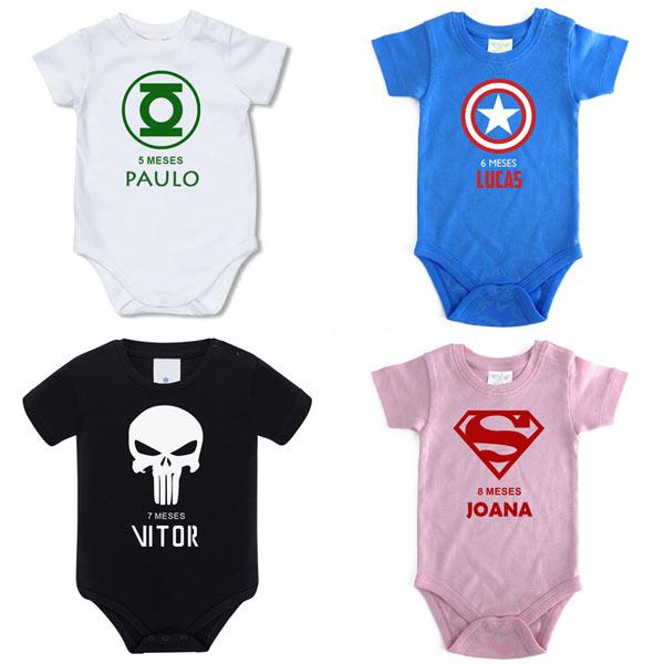 Body Bebé Super-Heróis Mesversário personalizado com nome em portugal