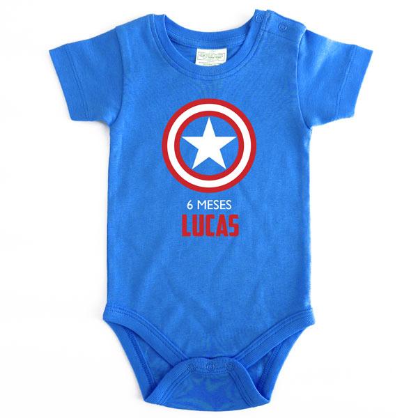 Body Bebé Super-Heróis Mesversário capitão américa