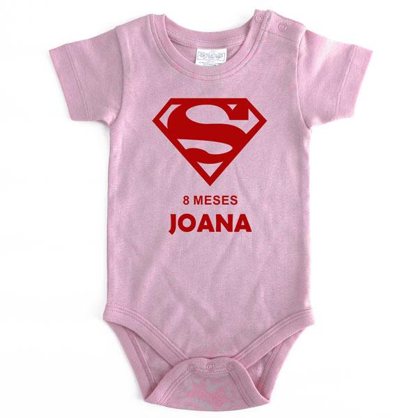 Body Bebé Super-Heróis Mesversário rosa bebé menina