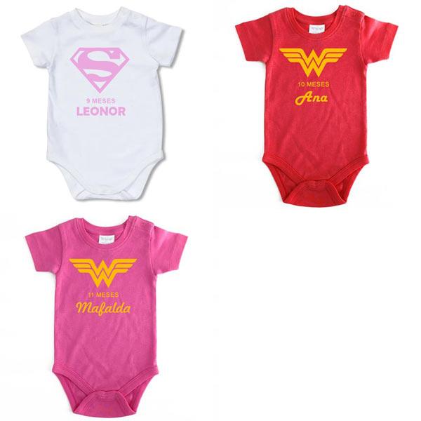 Body Bebé Super-Heróis Mesversário para meninas