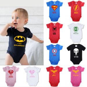 Body Bebé Super-Heróis Mesversário personalizado com nome