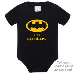 Body Bebé Batman Mesversário personalizado preto