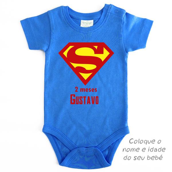 Body Bebé Superman Mesversário personalizado com nome e idade