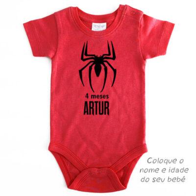 Body Bebé Homem-Aranha Mesversário personalizado preço