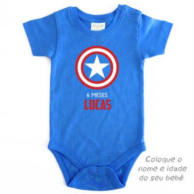 Body Bebé Capitão América Mesversário personalizado