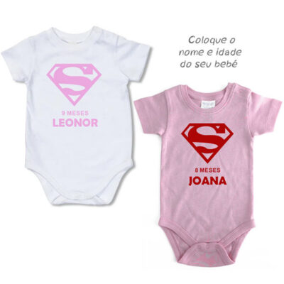 Body Bebé Supergirl mesversário meninas