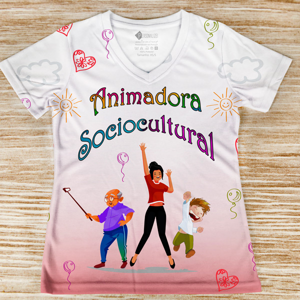 T-shirt Animadora Sociocultural profissão/curso foto real