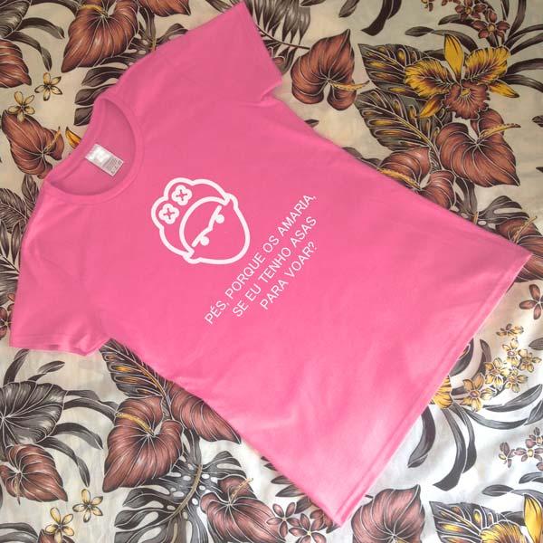 T-shirt Frida Kahlo Asas para voar. Rosa