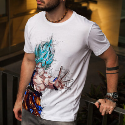 T-shirt Son Goku Super Saiyajin Blue branca
