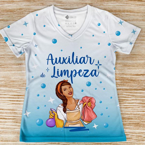 T-shirt Auxiliar de Limpeza profissão/curso frente