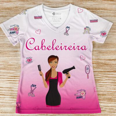 T-shirt Cabeleireira profissão/curso foto real frente