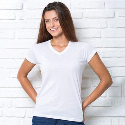 T-shirt Gola V 100% poliéster 190g mulher para sublimação