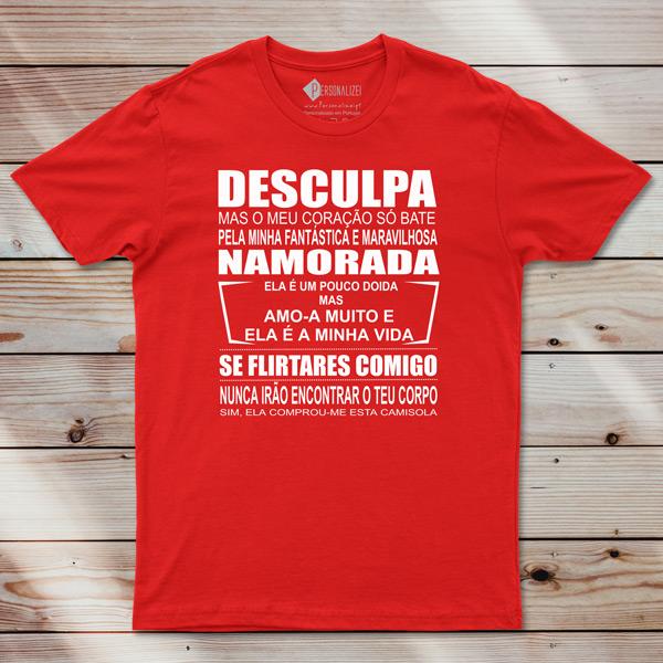 T-shirt Meu coração só bate pelo(a).... vermelha
