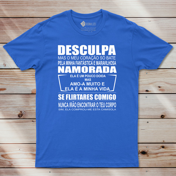 T-shirt Meu coração só bate pelo(a).... azul