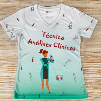 T-shirt Técnica Análises Clínicas profissão/curso verde