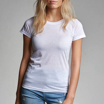 T-shirt 100% poliéster 180g mulher com toque de algodão