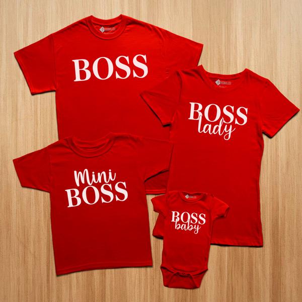 T-shirts Boss Lady Baby Mini conjunto família vermelhas