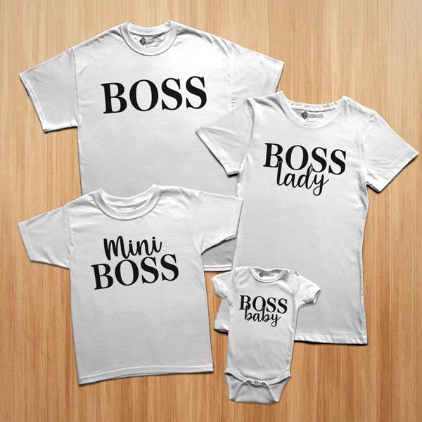 T-shirts Boss Lady Baby Mini conjunto família brancas