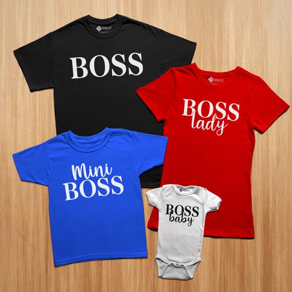 T-shirts Boss Lady Baby Mini conjunto família colorido