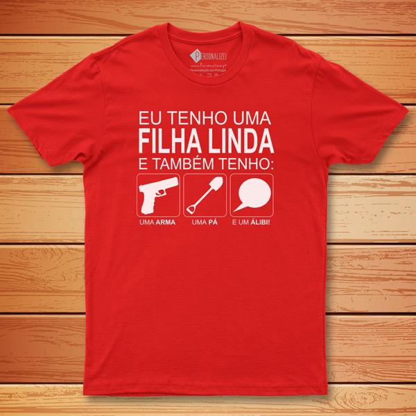 T-shirt Tenho uma filha linda e também... vermelha