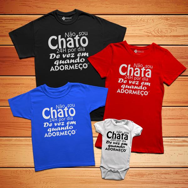 T-shirt Não sou chato(a) 24h por dia para família
