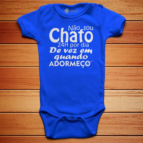 T-shirt Não sou chato(a) 24h por dia body azul