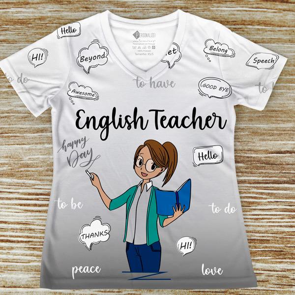 T-shirt Professora de Inglês profissão/curso cinza