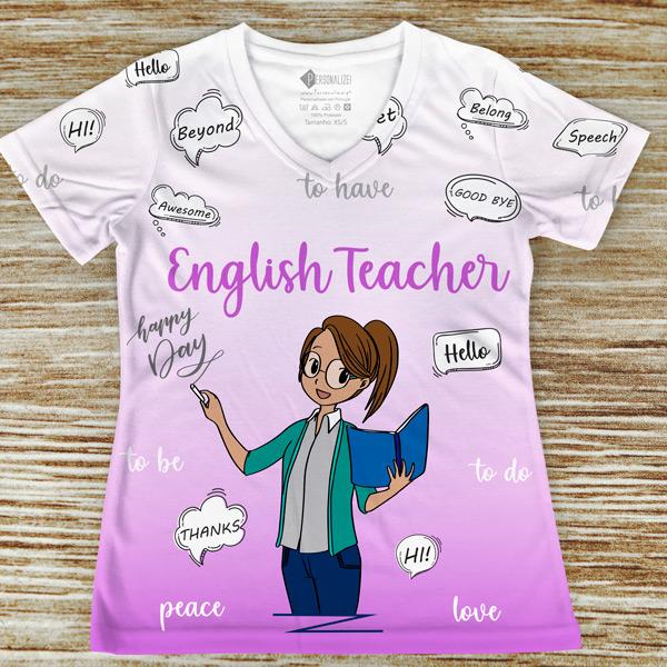 T-shirt Professora de Inglês profissão/curso rosa