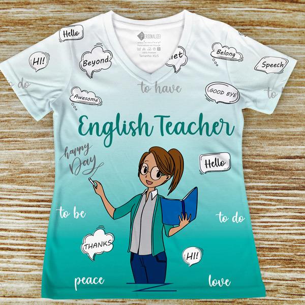 T-shirt Professora de Inglês profissão/curso verde