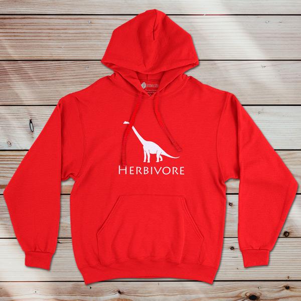 Sweatshirt com capuz Herbivore Dinosaur Vegan vermelho