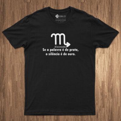 T-shirt Signo Escorpião frase o silêncio é de ouro comprar em portugal