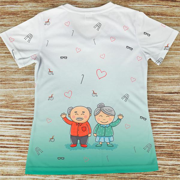 T-shirt Geriatria profissão costas verde