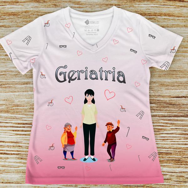 T-shirt Geriatria profissão rosa