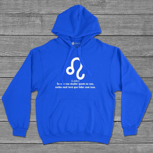 Leão Signo Sweatshirt com capuz Unisex azul