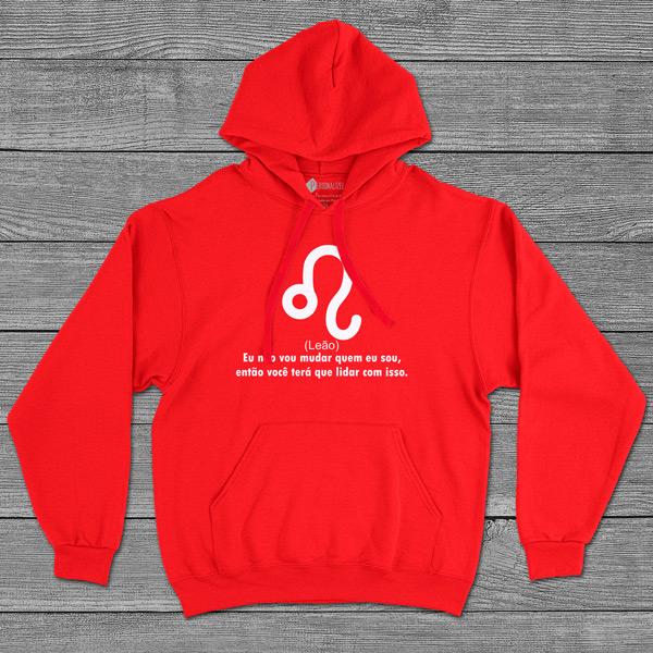 Leão Signo Sweatshirt com capuz Unisex vermelho