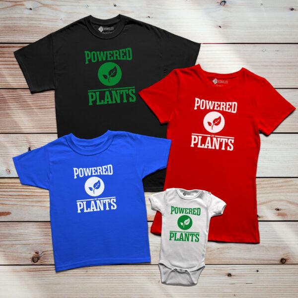 T-shirt Powered By Plants Homem/Mulher/Criança família