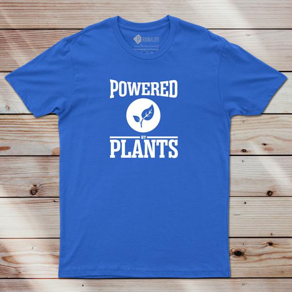 T-shirt Powered By Plants Homem/Mulher/Criança azul