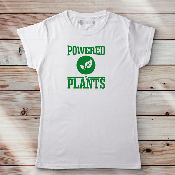 T-shirt Powered By Plants Homem/Mulher/Criança branca feminina