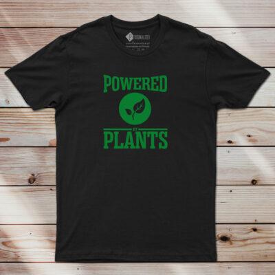 T-shirt Powered By Plants Homem/Mulher/Criança preta