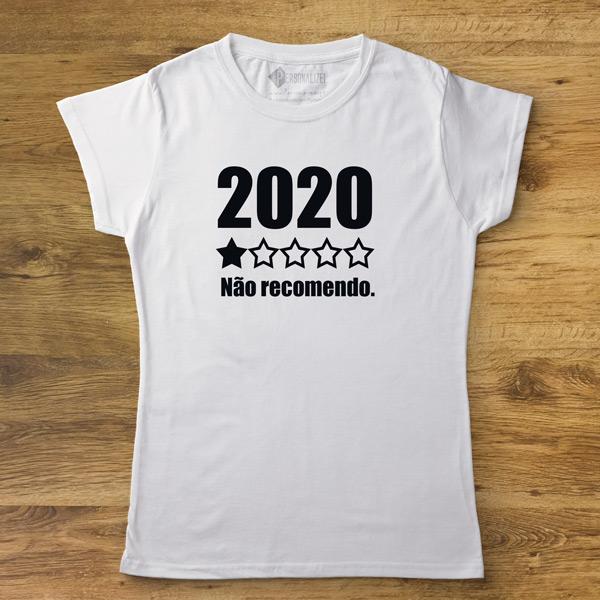 T-shirt 2020 Não recomendo frases de covid