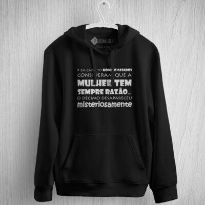 Sweatshirt com capuz 9 em cada 10 homens casados… moletom preto personalizado
